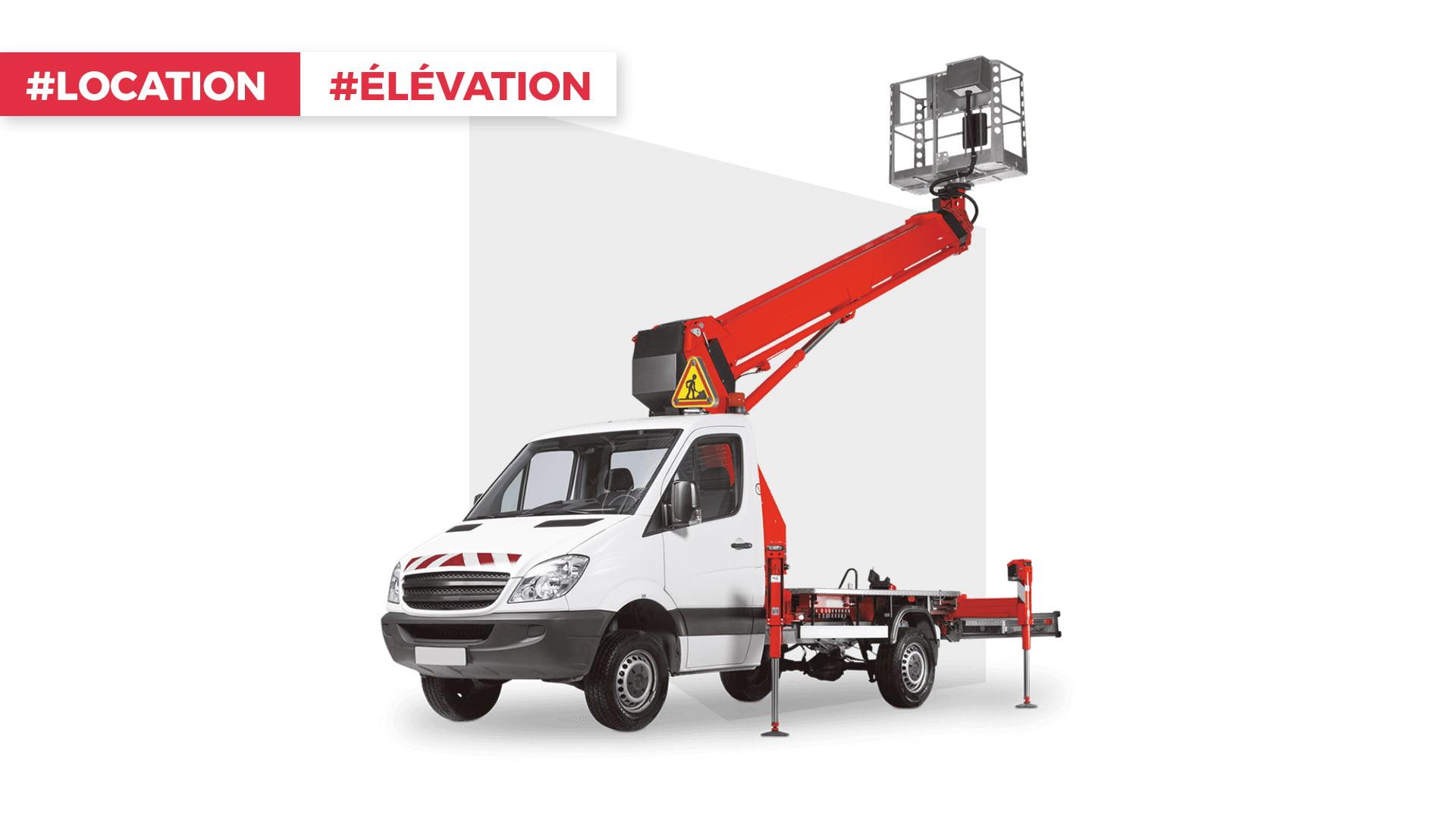 Illustration Camion Nacelle, RAM, 16 mètres, idéal pour les travaux en hauteur, disponible à la location dans votre agence proche de Mulhouse